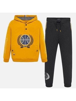 Костюм Спортивний, Пуловер з капюшоном + сірі штани, Бурштиновий, Mayoral Іспанія, 20OZ