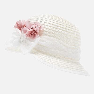 Головний убір Капелюх, (рожеві квіти), Кремовий, Mayoral Іспанія, 20VL