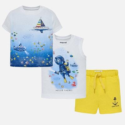 Комплект, Футболка  + майка + жовті шорти, Білий, Mayoral Іспанія, 19VL