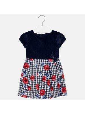 Сукня, короткий рукав (знизу квіти), Темно-синій, Mayoral Іспанія, 20OZ