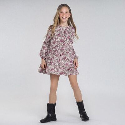 Сукня, довгий рукав, в квітах, Рожевий, Mayoral Іспанія, 21OZ
