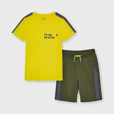 Комплект, Футболка жовта + шорти, Зелений, Mayoral Іспанія, 21VL