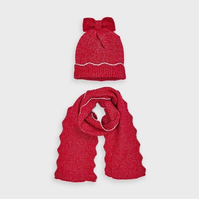 Головний убір Комплект, Шапка + шарф, Червоний, Mayoral Іспанія, 21OZ