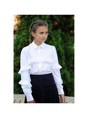 Шкільна форма, Блуза, довгий рукав з двома воланами, Білий, REMIX Польща, 19Ошкола