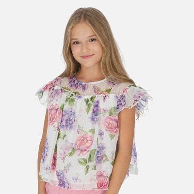 Блуза, в бузкових та рожевих квітах, Білий, Mayoral Іспанія, 20VL