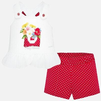 Комплект, Майка біла + шорти в горошок, Червоний, Mayoral Іспанія, 20VL