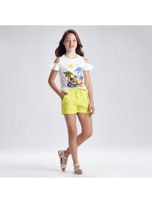 Комплект, Футболка  + шорти жовті, Білий, Mayoral Іспанія, 21VL