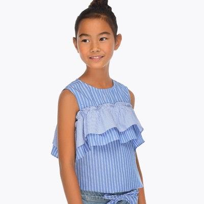 Блуза, в білу смугу, Блакитний, Mayoral Іспанія, 19VL
