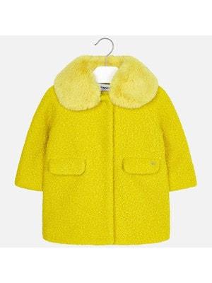 Пальто, (комір з хутра відстібається), Жовтий, Mayoral Іспанія, 20OZ