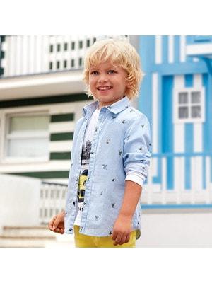 Сорочка, в смужечку, довгий рукав (TENNIS), Блакитний, Mayoral Іспанія, 19VL