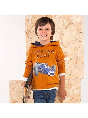 Пуловер, з капюшоном, Бурштиновий, Mayoral Іспанія, 19OZ