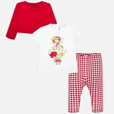 Комплект, Кофта + футболка біла + легінси в клітину, Червоний, Mayoral Іспанія, 20VL