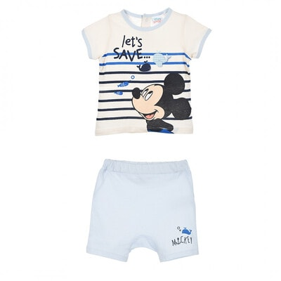 Комплект, Футболка + блакитні шорти MICKEY   Disney, Кремовий, Sun City Франція, 21VL