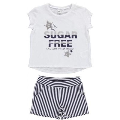 Комплект, Футболка Sugar Free (зірка з паєток) + шорти в синю смугу, Білий, iDO Італія, 19VL