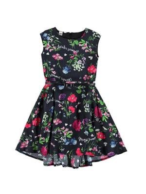 Сукня, квітах +пояс, Чорний, iDO Італія, 19VL
