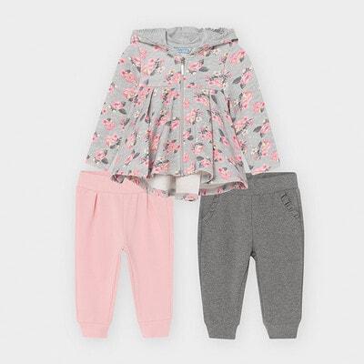 Комплект, Спортивний кофта + штани 2 шт. (1 - рожеві), Сірий, Mayoral Іспанія, 21OZ