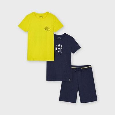 Комплект, Футболка 2 шт. (1- жовта) + шорти, Темно-синій, Mayoral Іспанія, 21VL
