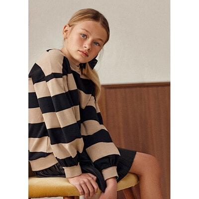Комплект, Сукня + пуловер в бежеву смугу, Чорний, Mayoral Іспанія, 22OZ
