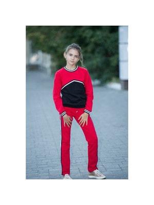 Комплект, Пуловер (чорна вставка) + штани, Червоний, ТМ Colabear, 20OZ