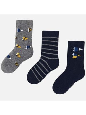 Шкарпетки, 3 пари (1 - в сіру смугу, 1 - сірі), Темно-синій, Mayoral Іспанія, 20OZ