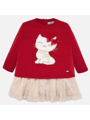 Сукня, низ бежевий + светр, Червоний, Mayoral Іспанія, 20OZ