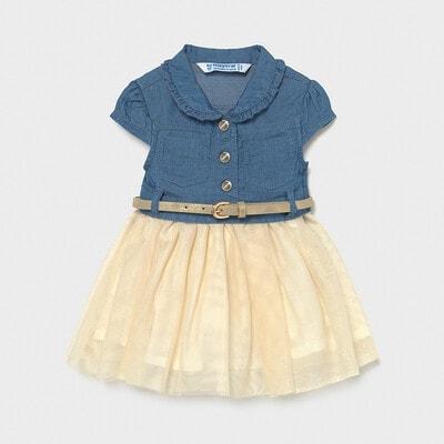 Платье, верх синий + пояс, Бежевый, Mayoral Испания, 21VL