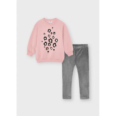 Комплект, Пуловер + сірі легінси, Рожевий, Mayoral Іспанія, 22OZ