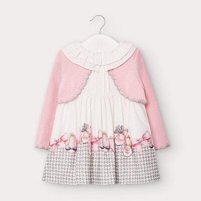 Сукня, довгий рукав, верх в'язаний рожевий, Білий, Mayoral Іспанія, 21OZ