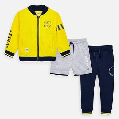 Комплект Спортивний, Кофта + сині штани + сірі шорти, Жовтий, Mayoral Іспанія, 20VL