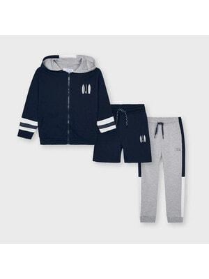Комплект Спортивний, Кофта + шорти + сірі штани, Блакитний, Mayoral Іспанія, 21VL