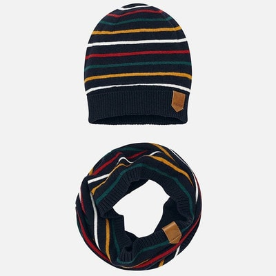 Головний убір Комплект, Шапка + шарф  (жовті, зелені, червоні смуги), Темно-синій, Mayoral Іспанія, 20OZ
