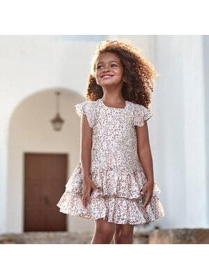 Сукня, в коричневу плямочку, Бежевий, Mayoral Іспанія, 20VL