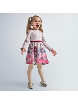 Сукня, довгий рукав, низ рожевий, Бежевий, Mayoral Іспанія, 21OZ