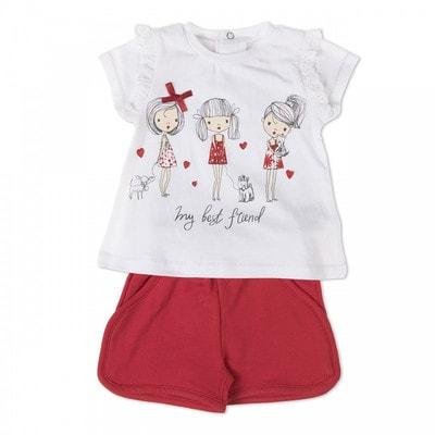 Комплект, Футболка біла + шорти, Червоний, Babybol Іспанія, 19VL