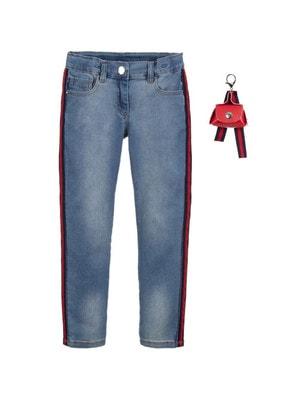 Штани, Джинси + червона сумочка, Синій, iDO Італія, 19VL