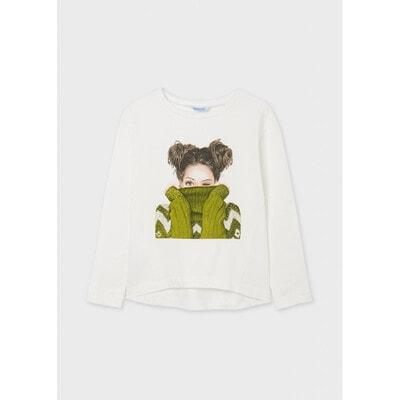 Джемпер, Дівчина в зеленому светрі, Кремовий, Mayoral Іспанія, 22OZ