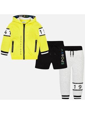 Комплект Спортивный, Кофта + штани + шорти, Жовтий, Mayoral Іспанія, 19VL