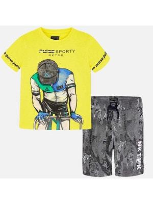 Комплект, Pulse Sporty Футболка жовта +шорти сірі, Жовтий, Mayoral Іспанія, 19VL