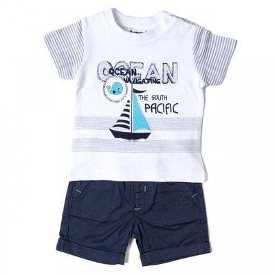Комплект, Футболка белая в полосу + шорты, Темно-синий, Babybol Испания, 19VL