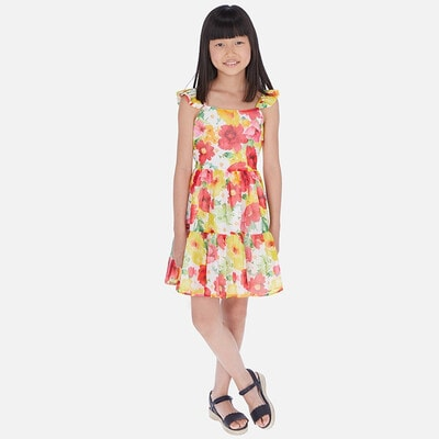 Сукня, в малинових та жовтих квітах, Білий, Mayoral Іспанія, 20VL