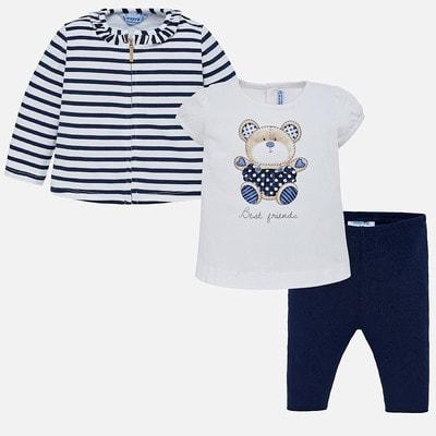 Комплект, Кофта + футболка + сині легінси, Білий, Mayoral Іспанія, 19VL