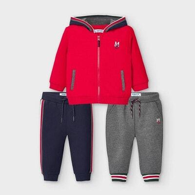 Комплект Спортивний, Кофта + штани 2 шт. (сірі, сині), Червоний, Mayoral Іспанія, 21OZ