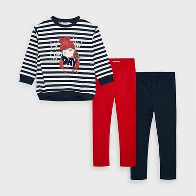 Комплект, Пуловер в білу смугу  + легінси 2 шт. (1 - червоні), Темно-синій, Mayoral Іспанія, 21OZ