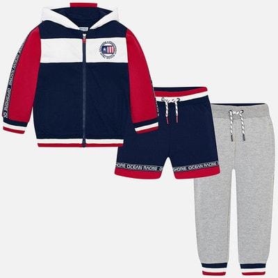 Комплект Спортивный, Кофта + штани + шорти сірі (червоні вставки), Синій, Mayoral Іспанія, 19VL
