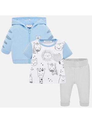 Комплект, Кофта + футболка біла + сірі штани, Блакитний, Mayoral Іспанія, 20VL