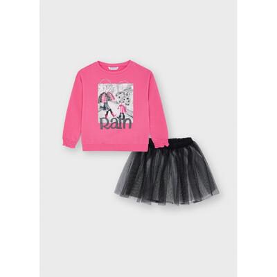 Комплект, Пуловер + чорна спідниця, Рожевий, Mayoral Іспанія, 22OZ
