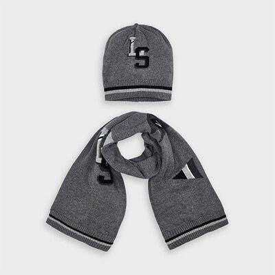 Головний убір Комплект, Шапка + шарф, Сірий, Mayoral Іспанія, 21OZ