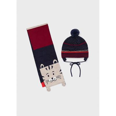 Головний убір Комплект, Шапка + шарф, Темно-синій, Mayoral Іспанія, 22OZ