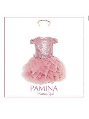 Платье, верх в пайетках низ блестящий + обруч, Розовый, Pamina Турция, 20VL