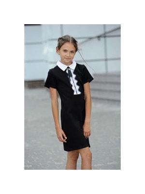 Шкільна форма, Сукня короткий рукав, білий комір та мереживо, Чорний, ТМ Colabear, 19Ошкола